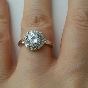 8mm Simulated Diamond Halo Ring size 6